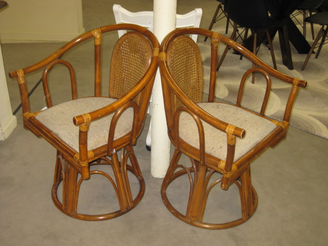 Bamboo Swivel Chair Pair (2)